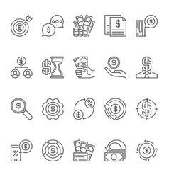 set dollar money outline icons or vector image