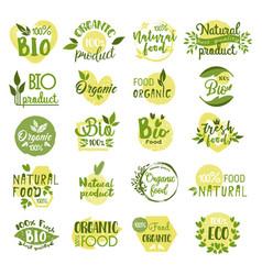 Set isolated bio product logo vegetarian food vector