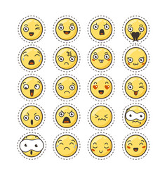 set of cute lovely kawaii emoticon sticker vector image