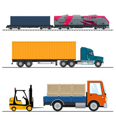 set of freight transport vector image