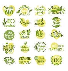 Set of isolated bio product logo vegetarian food vector