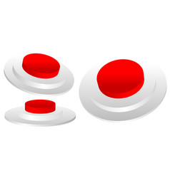Set of red 3d emergency termination stop button vector