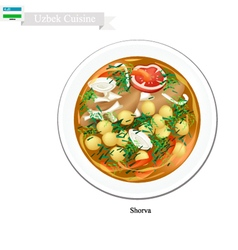 Shorva or Uzbekistan Potato Meat and Beans Stew vector