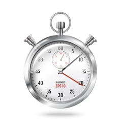 Silver bright stopwatch clock isolated on white vector