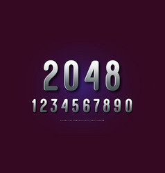 Silver colored sans serif numerals vector