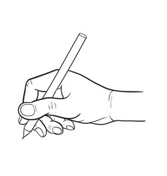 Simple line drawing of hand holding a pen vector