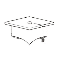 Sketch blurred silhouette image graduation cap vector