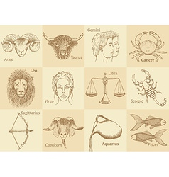 Sketch zodiac signs in vintage style vector image