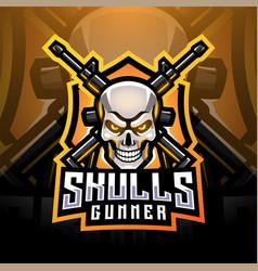 skull gunners esport mascot logo design vector image