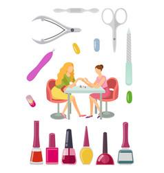 Spa salon manicure manicurist and tools set vector