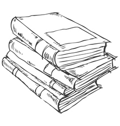 Stack books doodle vector