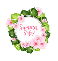 Summer sale circle banner with green leaves and vector