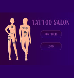 tattoo master make ink picture in parlor landing vector image