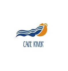 template icon cup with river vector image