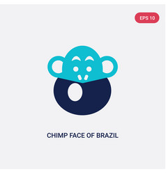 two color chimp face brazil icon from culture vector image