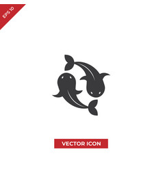 two golden carps icon vector image