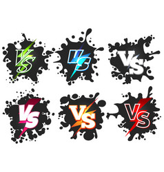 Versus on black splashes shape silhouettes vector