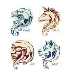 Vintage Animals Heads vector image