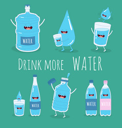 water set funny big and small bottle of water vector image