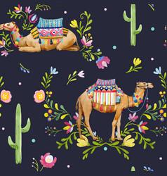 watercolor camel pattern vector image