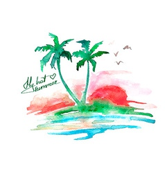 Watercolor tropical island vector