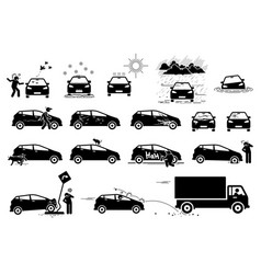 Weather animal and road hazard destroy and damage vector