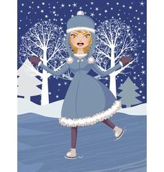 Winter skating girl vector