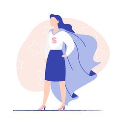 Woman super hero with flying cloak image vector