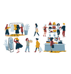 women shopping isolated characters fashion vector image