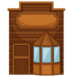 Wooden shop in wester design vector