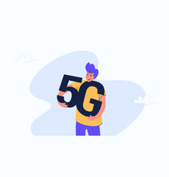 Young happy man hugging heavy 5g symbol vector