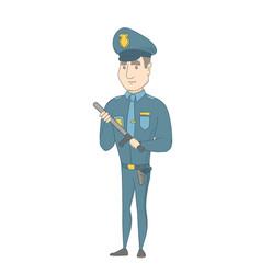 Young serious caucasian policeman with baton vector