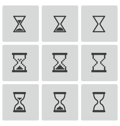 black hourglass icons set vector image