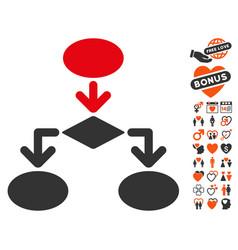 flowchart icon with love bonus vector image vector image