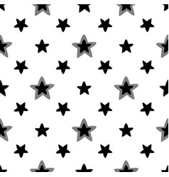 seamless pattern with stars black and white vector image