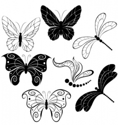silhouettes of butterflies and dragonflies vector image vector image