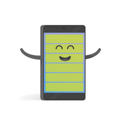 smartphone concept happy full charge battery cute vector image