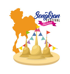 songkran festival thailand temple flag garland map vector image vector image