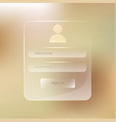 transparent glassy member login transparent vector image