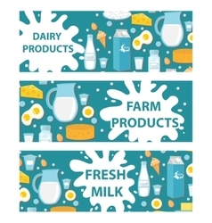 Dairy banner Flat style Milk products board vector image vector image