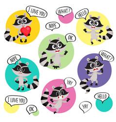 emoji emoticon stickers with cute raccoon vector image vector image