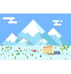 Mountain village hotel ski resort holidays bus vector