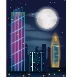 night in the city buildings full moon and stars vector image vector image