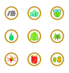 paintball equipment icons set cartoon style vector image