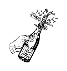 bottle of champagne in hand vector image