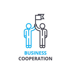 business cooperation concept outline icon vector image