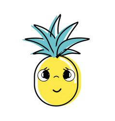 Kawaii cute sad pineapple vegetable vector