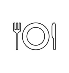 plate and cutlery line icon vector image
