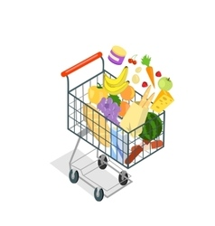 Shopping Trolley Products Food vector image