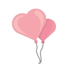 two pink balloons heart design vector image